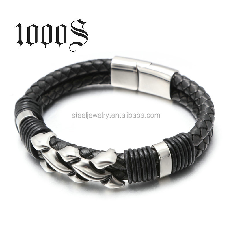Customized Engrave Logo Bio Magnetic Leather Bracelet Braided,Rough Mens Leather Bracelet