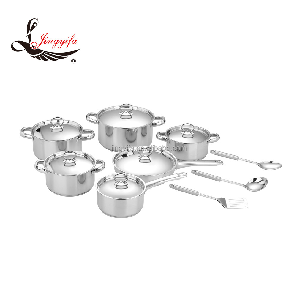 15PCS 16/18/20/24 cm stock pot / 16cm milk pot /24cm flying pan cooking pots and pans set with spoon and scoop