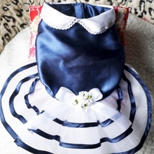 Elegant dog navy dress, pet navy dress
