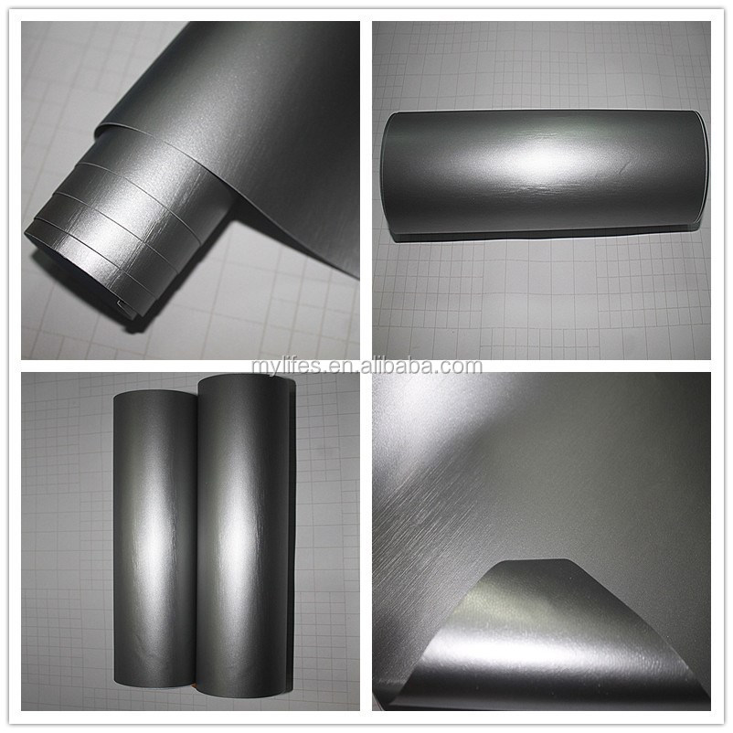 Auto Chrome Vinyl Wrap Film Brushed silver Brushed Vinyl Films for Car Wrap with Air Free Bubbles