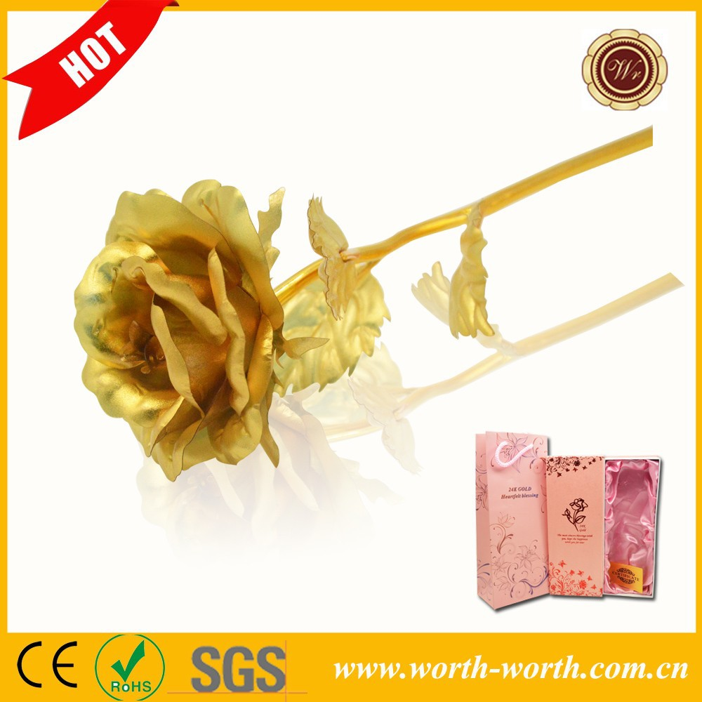 Big Model 25*8cm Gold Foil Rose Handcraft 24 Karat Gold Foil Rose Best Gifts For Girl