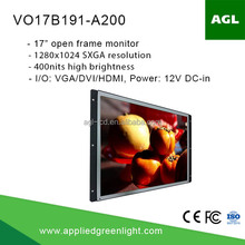 17 inch SXGA+ Industrial grade high brightness open frame LCD monitor with 12 v input