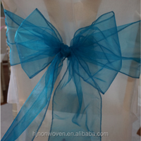 cheap turquoise christmas organza chair sash on sale