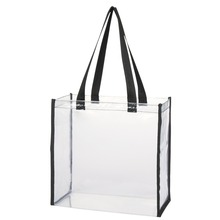 Hand Length Handle Sealing Vinyl clear pvc Square Bottom tote bags