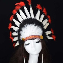 Bride feather headgear Indian headband cosplay chief headgear black and white red Indian style hat wholesale