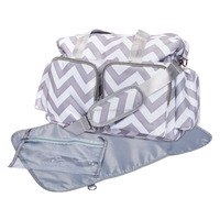 Deluxe Travel Chevron Duffle Diaper Bag with Diaper Changing Mat