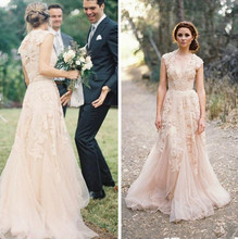 Vintage Sweetheart Ruffles Cap Sleeve Deep V neck Layered Lace Bridal Gowns 2014 Champagne Wedding Dresses