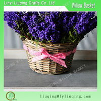 Factory wholesale Small round wicker baskets/Decorative gift baskets/Flower baskets for girl