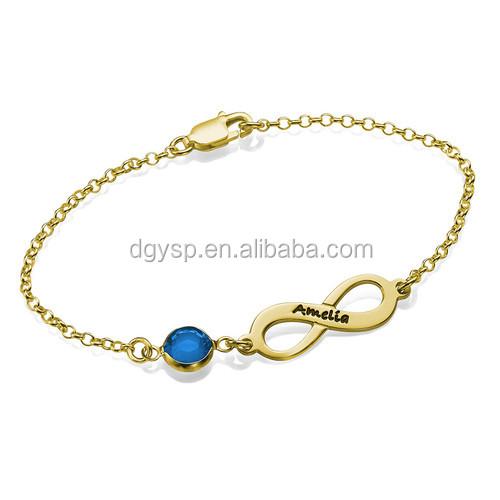 Inspire stainless steel jewelry 18k gold plated Infinity Birthstone Bracelet 2018