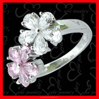 Girls Flower shape silver ring with clear and pink CZ stones