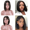 100% human hair top quality middle part cheap short bob cuts lace wig