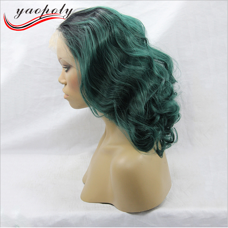 manufacture price short curly synthetic lace wig two tone color black root ombre blue lace front wigs for african women
