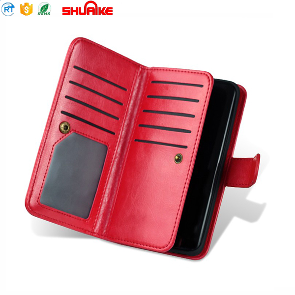 Detachable magnetic wallet mobile phone leather case for note 8