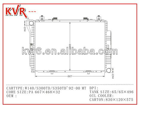 auto spare parts high quality radiator OEM 1405000303/0403 for : MERCEDES BENS W140/S300TD/350STD' 92-00 MT