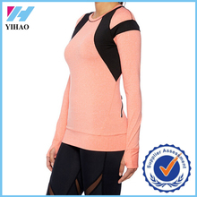 Yihao dry fit long sleeve sports shirt custom women contrast color gym wear clothing