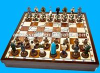 Handmade chess resin game set with board