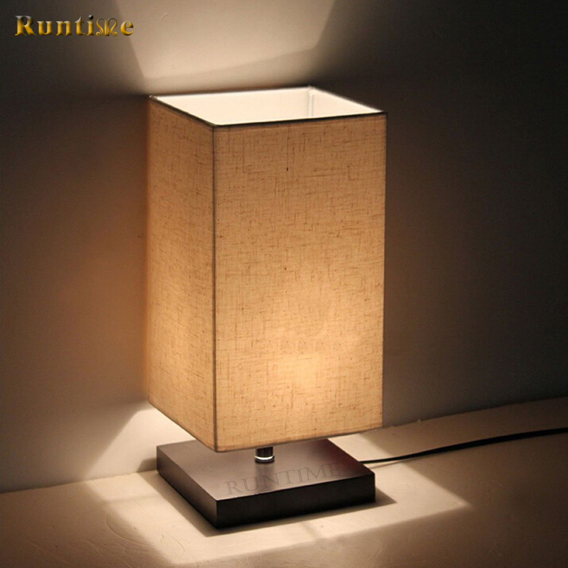 Best Price Square Fabric Shade Modern Small Wooden Table lamp For Home Decor And Hotel Project
