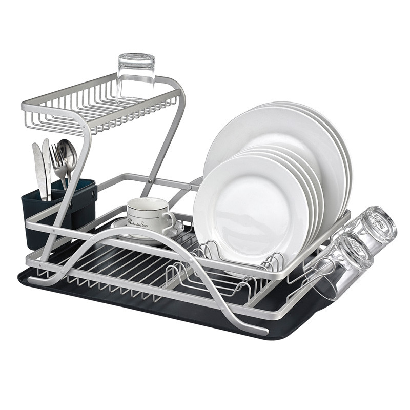 2017 New Design Collapsible Two Tier Aluminum Dish Rack
