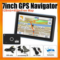Portable Vehicle GPS Navigation 84h-3 With 7inch HD Display 128MB 4GB and free Global Navigation maps