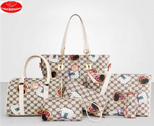 6 pcs in 1 printing design high quality pu printing ladies handbags sets guangzhou factory