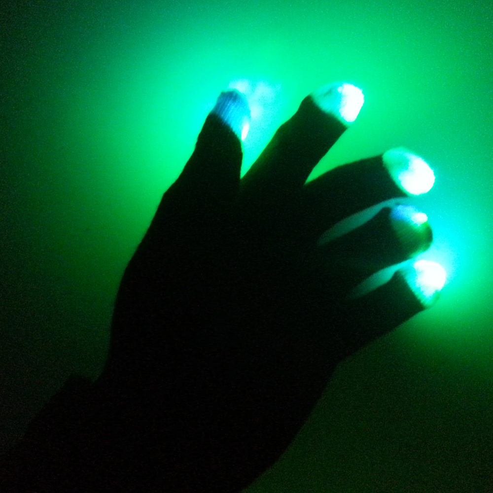 led colorful flashing finger lighting gloves