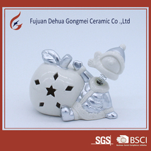 craft white porcelain christmas ornament with led light