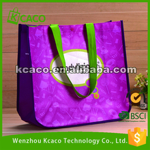 Custom picture printing purple laminated non woven shopping tote bag