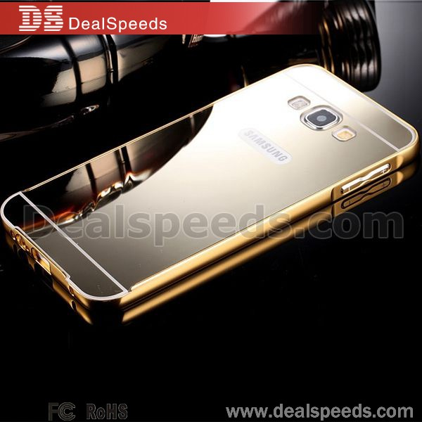 Mirror Minimalist Metal Border Electroplated PC Shell Hard Case for Lenovo K3 Note Back Cover (Golden)