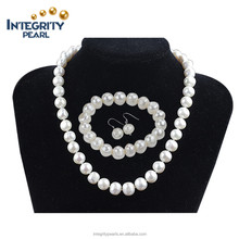 11mm large size off round shape silver plated wholsesale fresh water pearl jewelry set