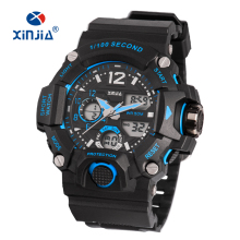 2018 XINJIA 5 ATM Waterproof Watches Men Analog-Digital Quartz Watch Men Sport TPU Strap SHOCK Stainless Steel Case Back