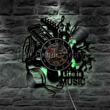 Music Is My Life Vinyl Record Wall Clock Decor Musical Instruments Gifts For Rock Music Fans Home Art Clock