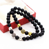 Matt Black Onyx Bead With Copper Crystal Disco Ball Elastic Bracelet For Men