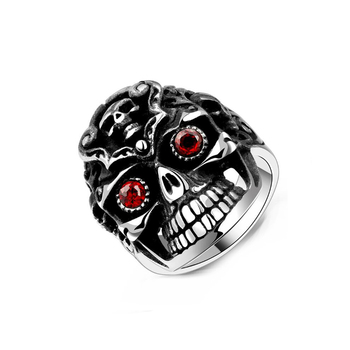 Classic red cubic zirconia men skull stainless steel fashion jewelry wedding ring