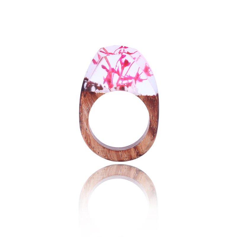 Fashion Wooden Resin Ring Gift for Her PInk Ecofriendly Wood Rings Statement Cocktail Ring Unique Gift Dropshipping Eco Epoxy