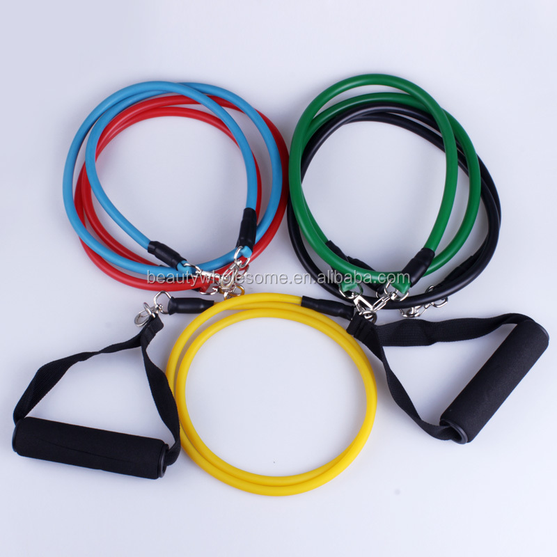 exercise gym set ,ADE094HOT,	11pcs gym rubber resistance bands tubes