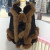 women cashmere cape and fox fur trim hood cape with crystal