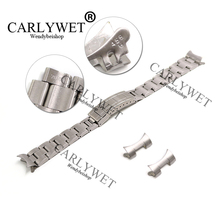 CARLYWET 20mm Solid Stainless Steel Links Hollow Curved End Deployment Glide Lock Clasp Brushed Buckle Bracelet for 70216 455B