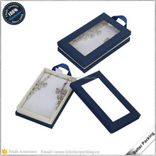 JBP227E Simple Top And Bottom cardboard Paper Jewelry Earring Box With PVC Clear Window