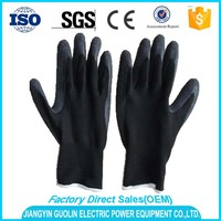 rugged wear black cotton gloves hand job gloves latex coated working gloves