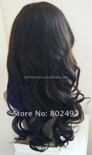 Top quality fashionable no shedding brazilian human hair wig long wavy full lace wig