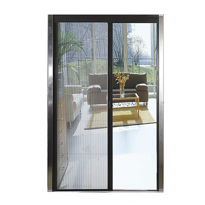 Cheap price custom black color plisse mosquito ne insect horizontal opening pleated screen door