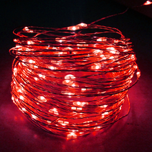 Low voltage ambience flexible copper wire outdoor red christmas tree decorative led string lights with timer