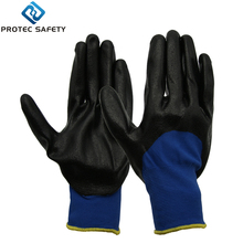 blue nylon safety gloves 3/4 coated with black nitrile foam finish