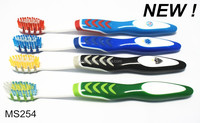 2014 Best Selling New Design Adult Toothbrush With Tongue Cleaner,Gum Massage And Can Print Logo