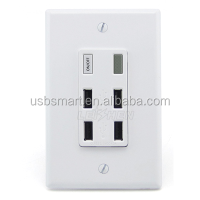 Hot sell products hight quality 4 port usb wall charger with power switch