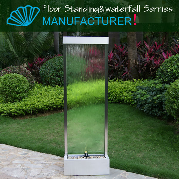2015 Floor Tempering Glass Waterfalls Outdoor Garden Decoration Water Fountain For Sale