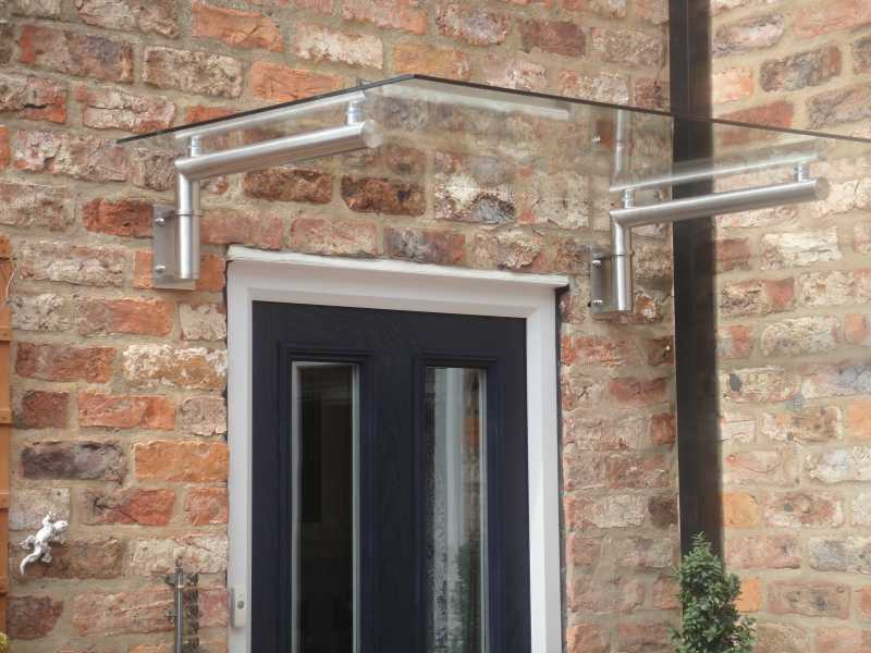Mordern Style Glass Door Canopy With Stainless Steel Bracket