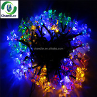 7M 50LEDS Peach Flower solar powered Led lamps Super Bright Christmas Lighting Lamps