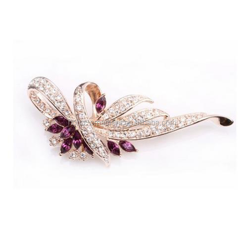 Fashion Plaza Women`s Amethyst Purple Flower Wreath Cubic Zircon Pin Brooch