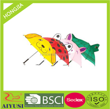Hot sale straight black plastic handle animal print 3D kids umbrella